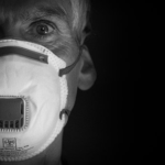 man with face mask, b&w