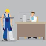 Injured Worker Seek Medical Treatment at Doctor's Office Cartoon Vector Illustration