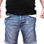 man turning pockets inside out